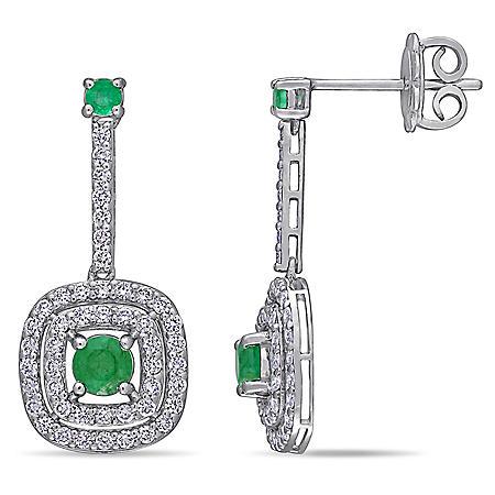Allura 0.62 CT. T.G.W. Emerald and 0.752 CT. T.W. Diamond Double Halo Dangle Earrings in 14K White Gold