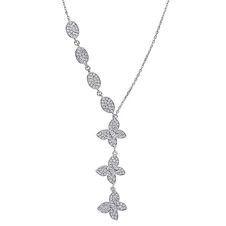 Allura 0.948 CT. T.W. Diamond Oval and Butterfly Lariat Necklace in 18k White Gold