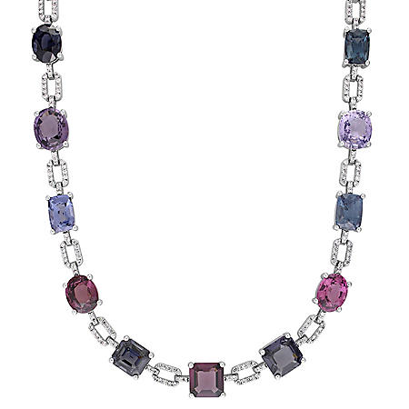 Allura 47.98 CT. T.G.W. Multi-Color Spinel and 1.74 CT. T.W. Diamond Station Necklace in 14k White Gold