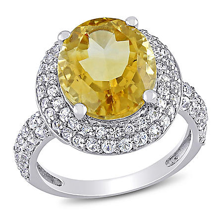 4.3 CT. T.G.W. Citrine and 1.14 CT. T.G.W. Created White Sapphire Cocktail Ring in Sterling Silver