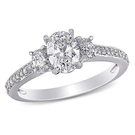 Allura 1.1 CT. Oval and Round-Cut Diamond 3-Stone Engagement Ring in 14k White Gold