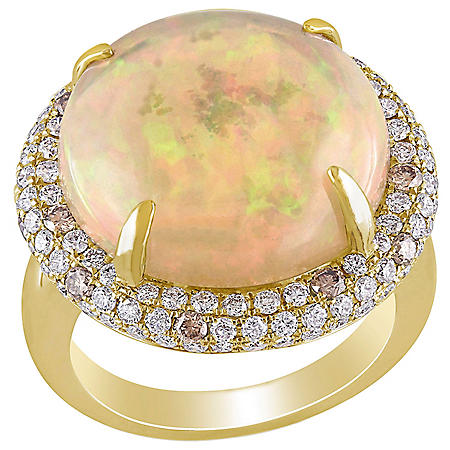 Allura 7.18 CT. T.G.W. Ethiopian Opal and 1.32 CT. T.W. Brown and White Diamond Cocktail Ring in 14K Yellow Gold