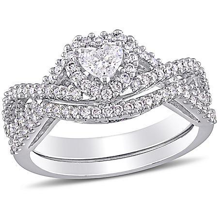 Allura 0.72 CT. T.W. Heart and Round-Cut Diamond Heart Infinity Bridal Set in 14k White Gold