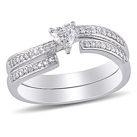 Allura 0.4 CT. T.W. Heart and Round-Cut Diamond Heart Bridal Set in 14k White Gold