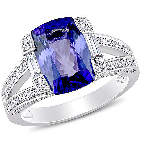 Allura 4 CT. T.G.W. Tanzanite and 0.56 CT. T.W. Parallel Baguette and Round-Cut Diamond Cocktail Ring in 14k White Gold