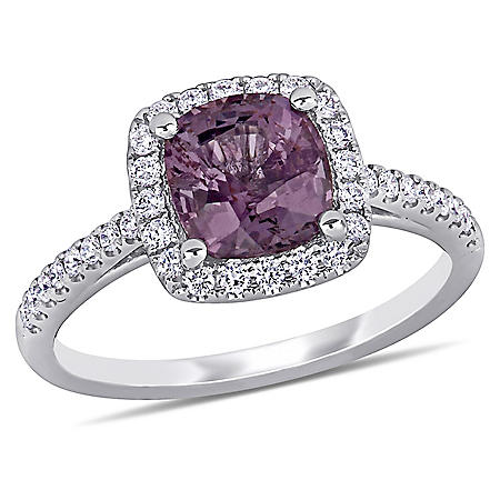 Allura 2.06 CT. T.G.W. Purple Red-Spinel and 0.388 CT. T.W. Diamond Halo Ring in 14k White Gold