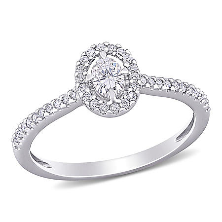 0.495 CT. T.W. Diamond Halo Engagement Ring in 14k White Gold