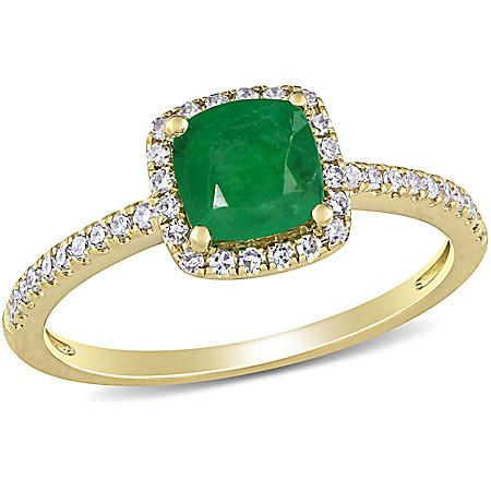 0.8 CT. T.G.W. Emerald and 0.2 CT. T.W. Diamond Halo Engagement Ring in 14k Yellow Gold