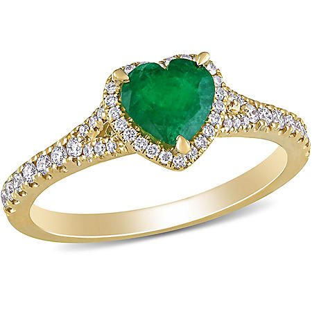 0.66 CT. T.G.W. Emerald and 0.26 CT. T.W. Diamond Heart Halo Engagement Ring in 14k Yellow Gold