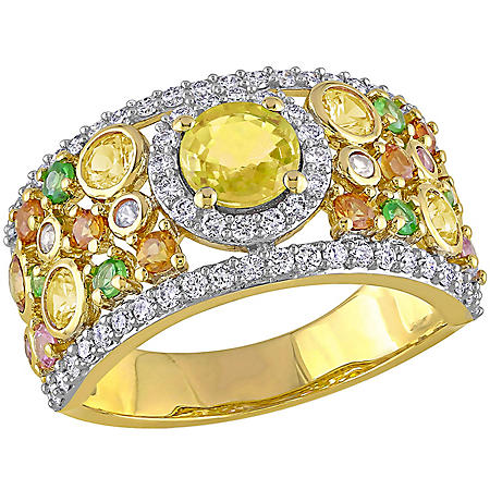 Allura 2.61 CT. T.G.W. Multi-Color Sapphire and 0.5 CT. T.W. Diamond Anniversary Ring in 14K Yellow Gold
