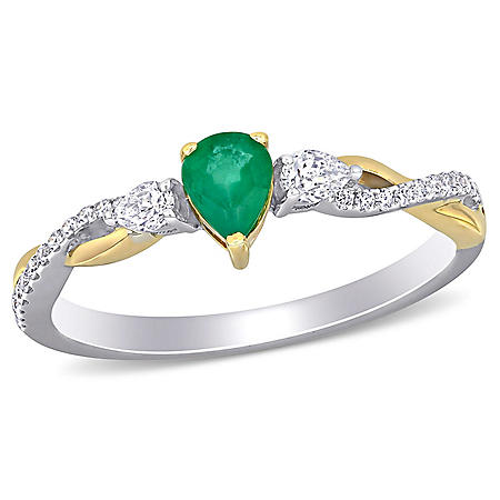 0.29 CT. T.G.W. Emerald and 0.19 CT. T.W. Diamond Infinity Engagement Ring in 14k 2-Tone White and Yellow Gold