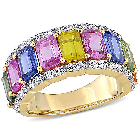 Allura 6.9 CT. T.G.W. Multi-Color Sapphire Eternity Anniversary Ring in 14k Yellow Gold