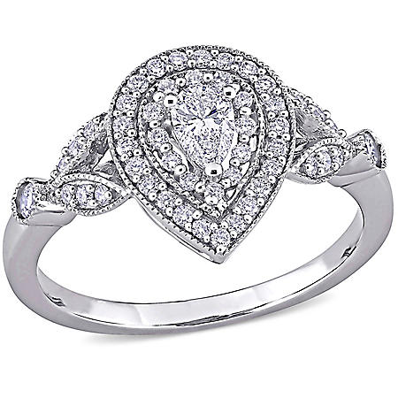 Allura 0.50 CT. T.G.W Pear Halo Diamond Engagement Ring in 14k White Gold