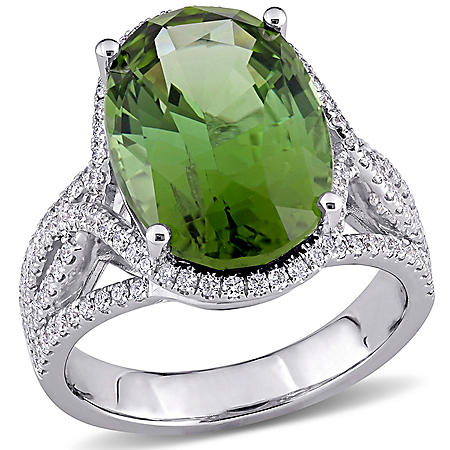 Allura 0.58 CT. T.W. Diamond And 8.5 CT. TGW Green Tourmaline Cocktail Halo Ring in 14k White Gold