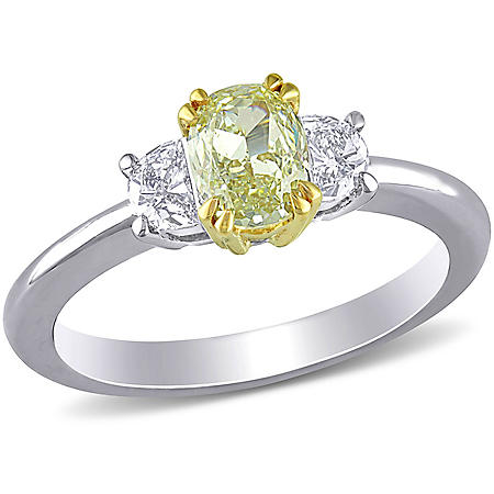 Allura 0.92 CT. T.W. Yellow & White Diamond Engagement Ring in 19k White Gold