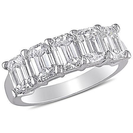 Allura 2.5 CT. Emerald Diamond Semi-Eternity Anniversary Ring in 18K White Gold