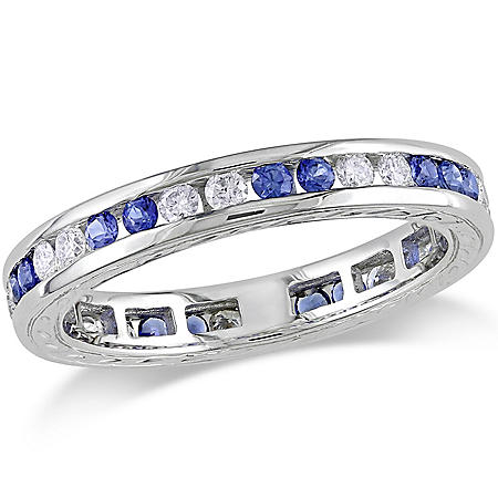 Allura 0.4 CT. Diamond and 0.59 CT. Sapphire Eternity Anniversary Ring in 18k White Gold