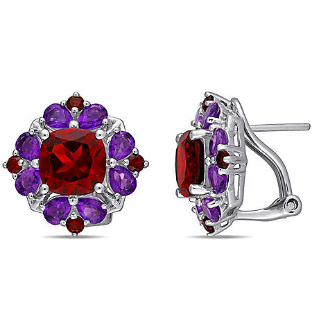 6.64 CT. T.G.W. Garnet and 2.24 Ct. T.G.W. African-Amethyst Floral Cluster Earrings in Sterling Silver