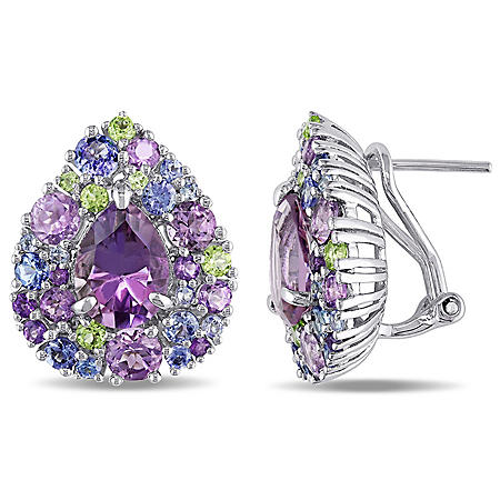 4.24 CT. T.G.W. Amethyst 2.12 CT. T.G.W. Rose de France 1.53 CT. T.G.W. Tanzanite 0.6 CT. T.G.W. Peridot and Cluster Teardrop Earrings in Sterling Silver