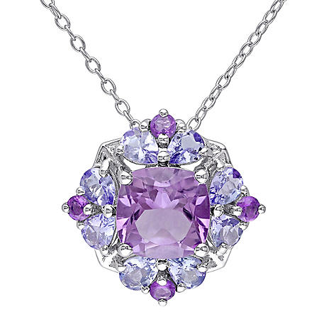 1.91 CT. T.W.G. Amethyst and 1.04 CT. T.G.W. Tanzanite Cocktail Pendant in Sterling Silver