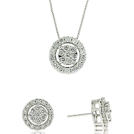 1.98 CT. T.W. Diamond Earring and Pendant Set in 14K White Gold