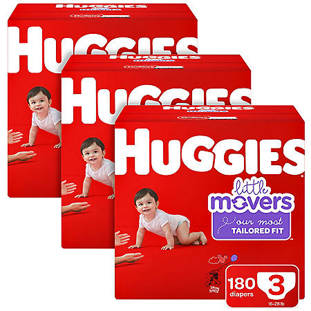 Huggies Little Movers 3-Pack Diaper Bundle (Choose Your Size)