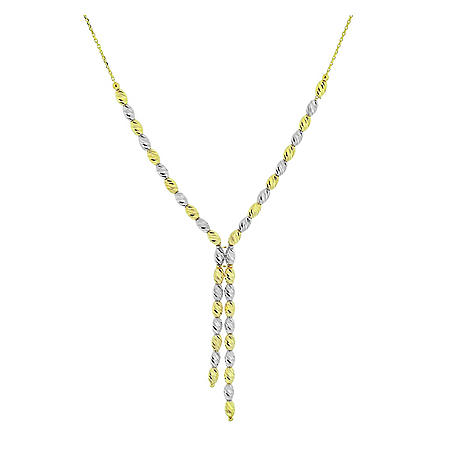 14K Two Tone Diamond Cut Beaded Necklace, 18""