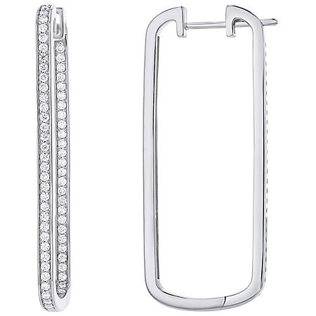 S Collection 1 CT. T.W. Rectangular Hoops in 14K White Gold