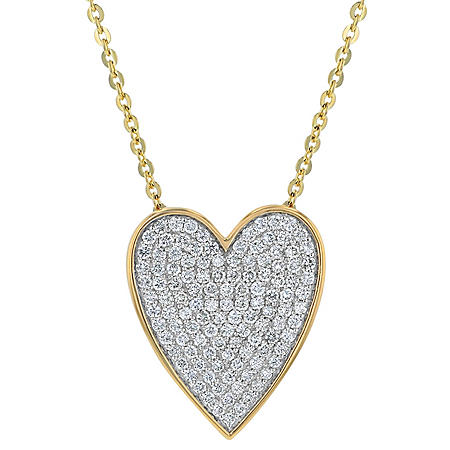 S Collection 1/2 CT. T.W. Diamond Heart Micro-Pave Set Pendant in 14K Yellow Gold