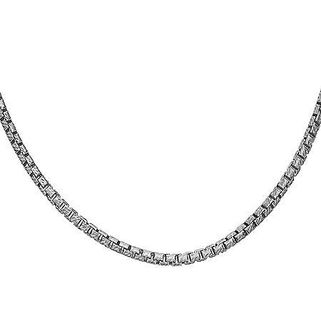 """Italian Sterling Silver Diamond-Cut Box Chain Necklace, 24"""""""
