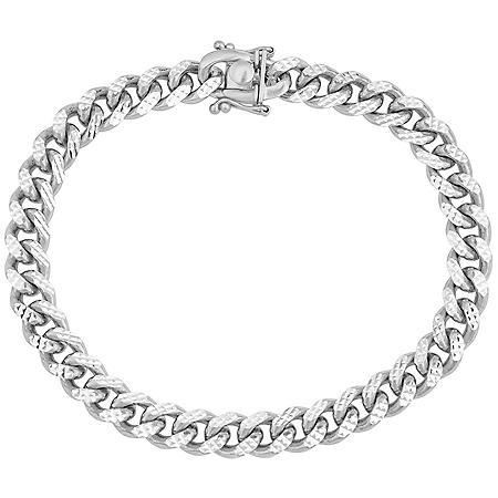 """Italian Sterling Silver Diamond-Cut Cuban Chain Bracelet, 8.5"""""""