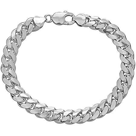 """Italian Sterling Silver Polished Cuban Chain Bracelet, 9"""""""