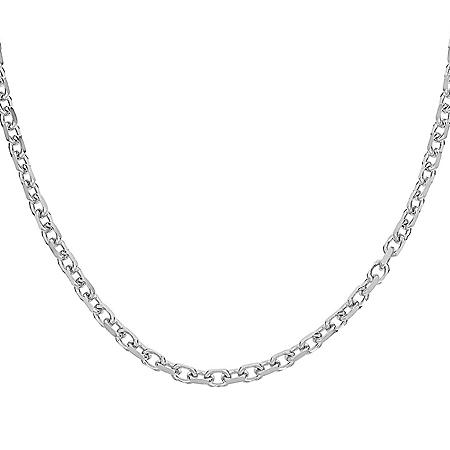 Italian Sterling Silver Diamond-Cut Oval Rolo Chain Necklace, 24""