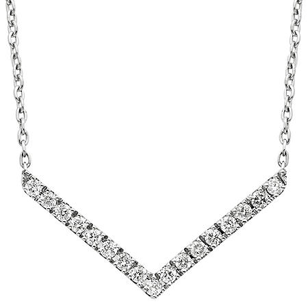 0.12 CT. T.W. Chevron Diamond Necklace in 14K White Gold