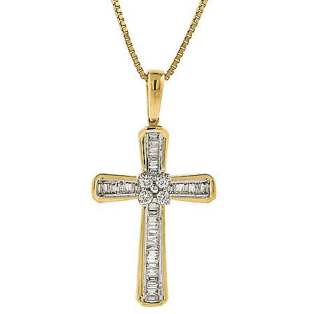 0.18 CT.TW. Diamond Cross Pendant in 14K Yellow Gold
