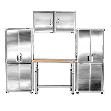 UltraHD 5-Piece Garage Cabinet Set with Adjustable Workbench