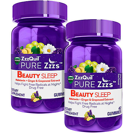 Vicks ZzzQuil Pure Zzzs Beauty Sleep, Melatonin + Ginger and Grapeseed Extract Gummie (42 ct., 2 pk.)