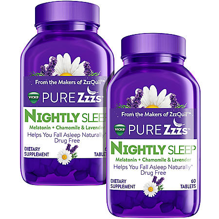 Vicks ZzzQuil Pure  Zzzs, Nightly Sleep Melatonin + Chamomile and Lavender Tablet (60 ct., 2 pk.)