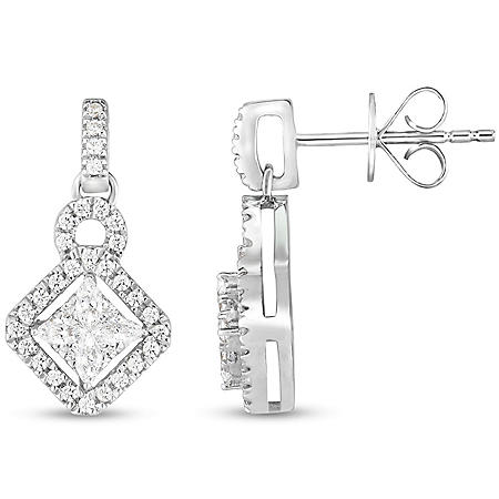 0.45 CT. T.W. Marquise and Round Kite-Shape Drop Earrings in 14K Gold