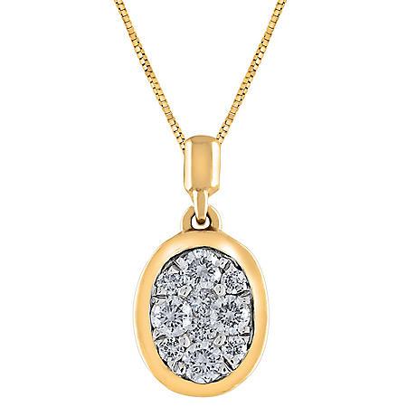 0.23 CT. T.W. Composite Diamond Oval Shape Bezel Pendant in 14K Gold