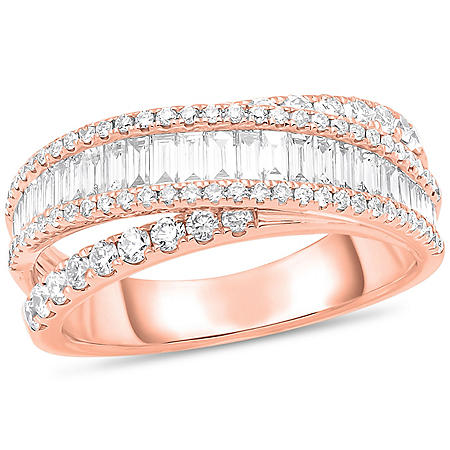 1.18 CT. T.W. Round and Baguette Cross-over Diamond Band in 14K Gold