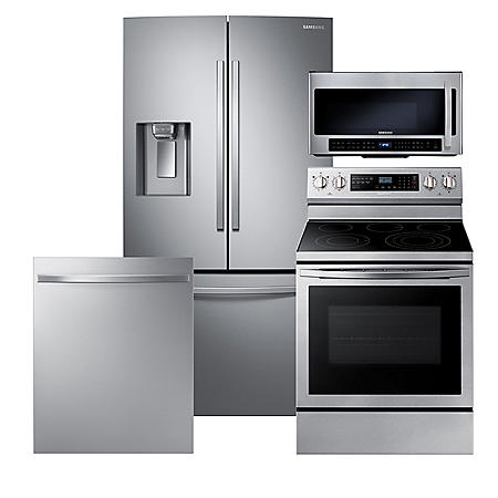 Samsung 4pc Kitchen Suite with Counter Depth Refrigerator in Stainless Steel