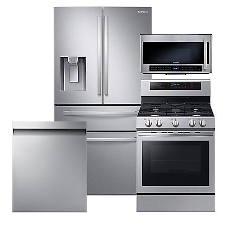 Samsung 4pc Kitchen Suite with 4-Door Refrigerator in Stainless Steel