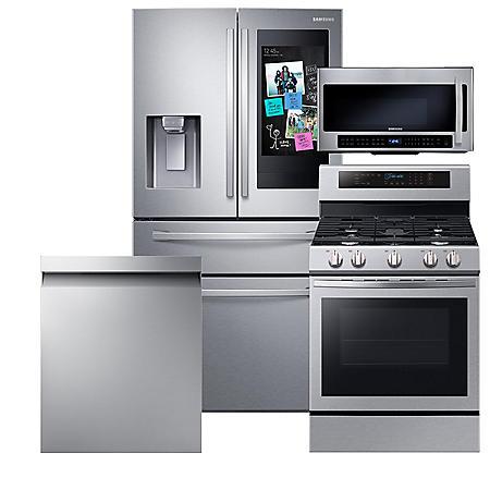 Samsung 4pc Kitchen Suite with 4-Door Refrigerator in Stainless Steel