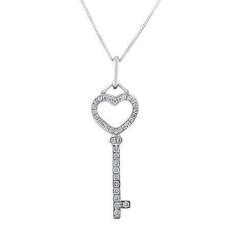 0.18 CT. T.W. Diamond Heart Top Key Pendant in 14K Gold
