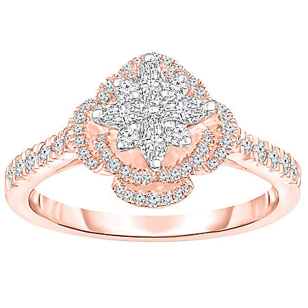 0.58 CT. T.W. Diamond Floral Cluster Framed Engagement Ring in 14K Gold