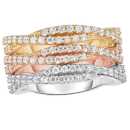 0.90 CT. T.W. Diamond Wave Stack Band in 14K Tri-Color Gold