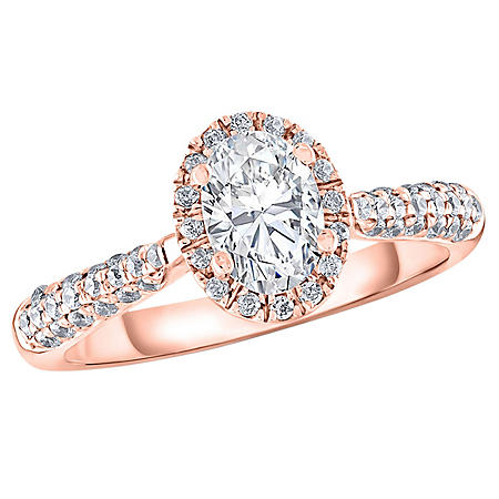 1.25 CT. T.W. Oval Halo Frame Engagement Ring in 14K Gold