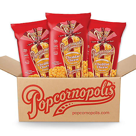 Popcornopolis Cheddar Cheese Popcorn (3 - 14 oz. bags)