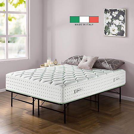 """Zinus Night Therapy Italian Made Olive Oil Infused 12"""" Hybrid Full Mattress and SmartBase Set"""